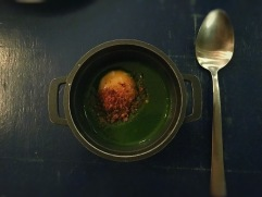 63° egg yolk with hot parsley and bread crumble